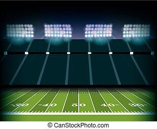 estádio, futebol, ilustração, campo, americano, fundo