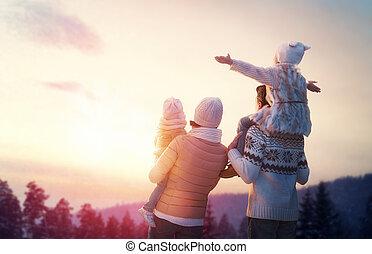 estação, família, inverno