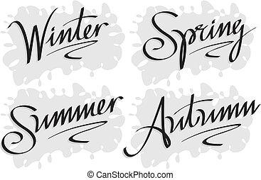 estação, inverno, inscrição, primavera