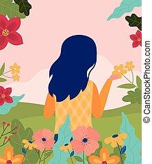 estação, natureza, flores, primavera, capim, cena, mulher, olá