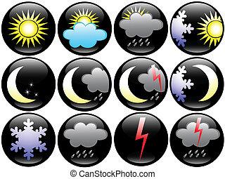 estação, tempo, ícones