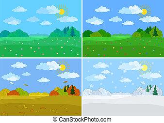 estações, jogo, floresta, paisagens