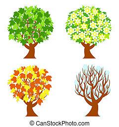 estações, quatro, árvores