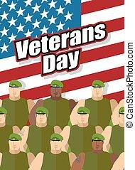 estados, unidas, flag., nacional, holiday., ilustração, day., americano, vetorial, fundo, patriótico, soldados, veterans