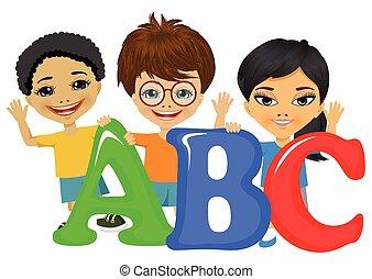 estar, crianças, letras, ilustração
