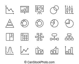 estatísticas, jogo, gráfico, mapa, icons., mapa torta, linha, apresentação, more.
