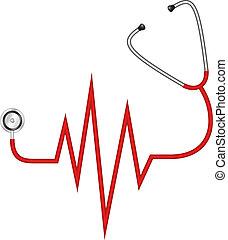 estetoscópio, electrocardiograma, -
