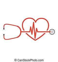 estetoscópio, vetorial, sinal, batida coração, ilustração, heart.