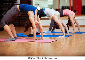 esticar, classe ioga, saída
