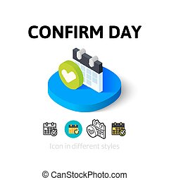 estilo, ícone, diferente, dia, confirmar