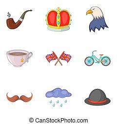 estilo, ícones, jogo, mundo, caricatura, história