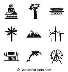estilo, ícones, jogo, rota, simples, mundo
