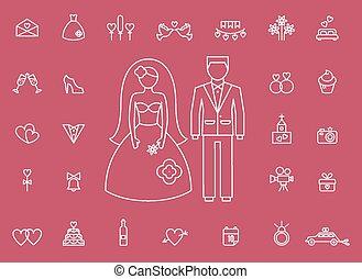estilo, ícones, modernos, casamento, linha, nupcial
