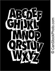 estilo, alphabet., vetorial, cômico, fonte, tipo