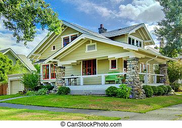 estilo, antigas, porch., verde, artesão, lar, coberto