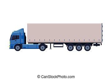 estilo, apartamento, vetorial, caminhão reboque, branca, entrega, carga, ilustração, fundo, veículo