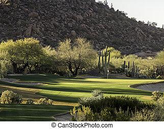 estilo, arizona, campo golfe, co, deserto