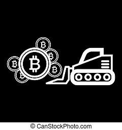 estilo, black., 10., esboço, escavador, mineração, web., bitcoin, ilustração, isolado, vetorial, projetado, icon., linha, eps, desenho
