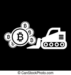 estilo, black., 10., escavador, mineração, sólido, web., bitcoin, ilustração, isolado, vetorial, projetado, icon., eps, desenho, glyph