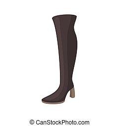 estilo, botas, alto, fêmea preta, ícone, caricatura