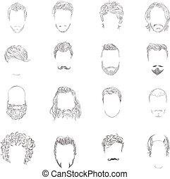estilo cabelo, jogo, homem