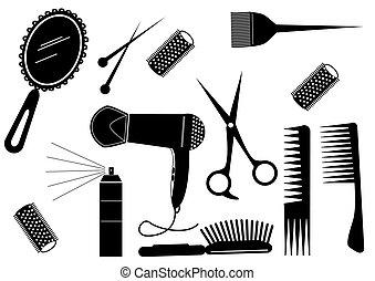 estilo, cabelo, salão beleza, vetorial, element.