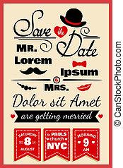 estilo, casório, hipster, cartão, convite