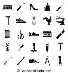 estilo, clássicas, reparar, ícones, sapato, simples, jogo