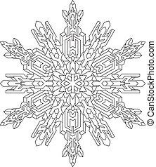 estilo, coloração, mono, pattern., book., esboços, linha, vetorial, geomã©´ricas, snowflake