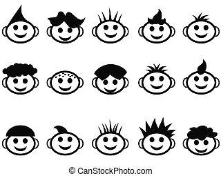 estilo, crianças, ícones, rosto, cabelo, caricatura