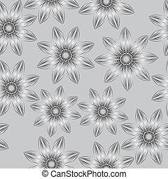 estilo, drawing., padrão, seamless, ilustração, flowers., vetorial, pretas, floral, branca, mão
