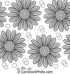 estilo, drawing., padrão, seamless, ilustração, mão, flowers., vetorial, pretas, crisântemo, floral, branca