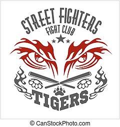 estilo, emblemas, emblema, logos., clube, -, etiquetas, luta, tiger, gráfico, monocromático, eye.