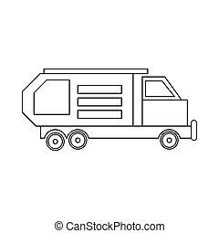 estilo, esboço, lixo, ícone, caminhão, desperdício, cobrador