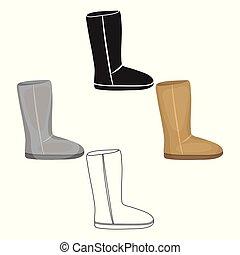 estilo, estoque, símbolo, caricatura, pretas, isolado, ícone, ugg, sapatos, vetorial, botas, experiência., illustration., branca