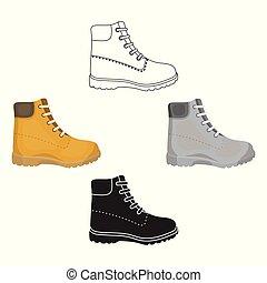 estilo, estoque, símbolo, caricatura, pretas, isolado, hiking, ícone, vetorial, sapatos, botas, experiência., illustration., branca