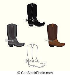 estilo, estoque, símbolo, caricatura, pretas, rodeo, isolado, ícone, vetorial, carregadores vaqueiro, experiência., illustration., branca