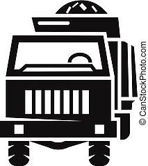 estilo, fazenda, simples, caminhão, frente, ícone