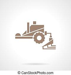 estilo, fertilizando, vetorial, maquinaria, ícone, glyph