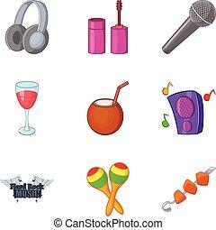 estilo, festival, difícil, jogo, rocha, caricatura, ícone