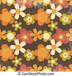 estilo, flor, coloridos, padrão, seamless, retro