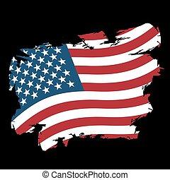 estilo, grunge, eua, golpes, nacional, experiência., bandeira, pretas, escova, tinta, splatter., américa, símbolo