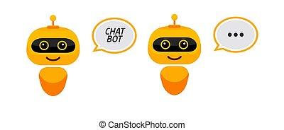 estilo, icon., chatbot, robô, apoio, bot, personagem, sinal, serviço, apartamento, concept., conversa