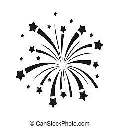 estilo, illustration., símbolo, fogos artifício, isolado, patriota, experiência., vetorial, pretas, patriótico, branca, ícone, dia, estoque