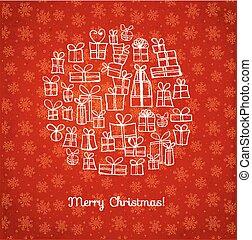 estilo, illustration., snowflakes., saudação, mão, presentes, sketchy, vetorial, cartão, fundo, desenhado, natal, vermelho