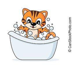 estilo, ilustração, banheira, banho, tiger, caricatura, alegre, vetorial