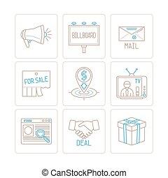 estilo, jogo, ícones negócio, marketing, vetorial, magra, conceitos, linha, mono, ou