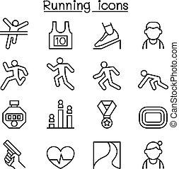 estilo, jogo, executando, linha magra, ícone
