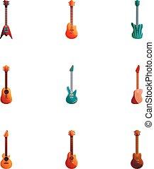 estilo, jogo, guitarra, rocha, caricatura, ícone