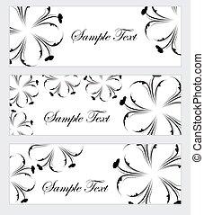 estilo, jogo, ilustração, mão, drawing., flowers., vetorial, pretas, floral, branca, bandeira